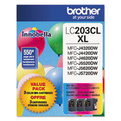 Brother LC2033PKS Innobella High-Yield Ink, 550 Page-Yield, Cyan/Magenta/Yellow