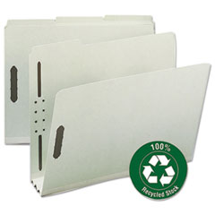 "Smead® Recycled Pressboard Fastener Folders, Letter, 3"" Exp., Gray/Green, 25/Box"