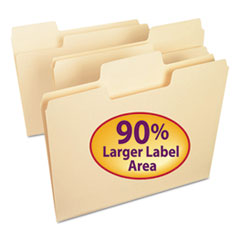 SuperTab Top Tab File Folders, 1/3-Cut Tabs, Letter Size, 11 pt. Manila, 100/Box