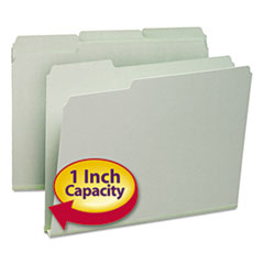 """Smead® Expanding Recycled Heavy Pressboard Folders, 1/3-Cut Tabs, 1"""" Expansion, Letter Size, Gray-Green, 25/Box"""