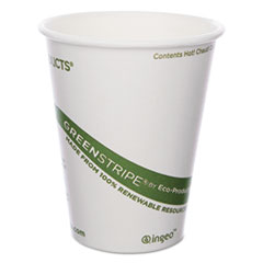 Eco-Products® GreenStripe Renewable & Compostable Hot Cups - 8 oz., 50/PK, 20 PK/CT