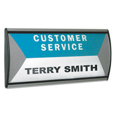 People Pointer™ People Pointer Wall/Door Sign, Aluminum Base, 8.75 x 4, Black/Silver