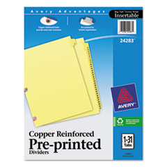 Preprinted Laminated Tab Dividers w/Copper Reinforced Holes, 31-Tab, Letter