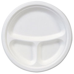 "Dixie® EcoSmart Molded Fiber Dinnerware, 3-Compartment Plate, White,10""Dia, 500/Carton"