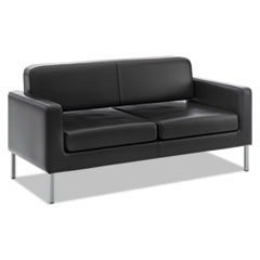 HON® Corral Reception Seating Sofa, 67w x 28d x 30.5h, Black SofThread Leather