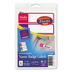 Avery® Flexible Self-Adhesive Mini Badge Labels, 1 x 3 3/4, Hello, Bright Asst, 100/PK
