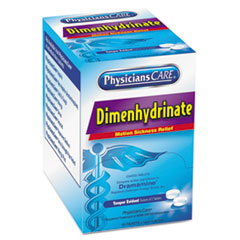 PhysiciansCare® Dimenhydrinate (Motion Sickness) Tablets, 2/Pack, 50 Pack/Box