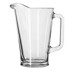 Libbey Glass Beer Pitcher, 37 oz/1 Liter, Clear, 6/Carton