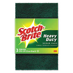"Scotch-Brite® Heavy-Duty Scour Pad, 3.8w x 6""L, Green, 3/Pack, 10 Packs/Carton"
