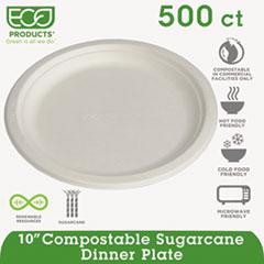 "Renewable and Compostable Sugarcane Plates, 10"" dia, Natural White, 500/Carton"