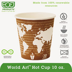 Eco-Products® World Art Renewable & Compostable Hot Cups Convenience Pack - 10 oz., 50/PK