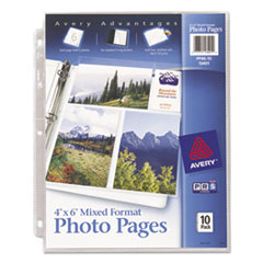 Avery® Photo Storage Pages for Six 4 x 6 Mixed Format Photos, 3-Hole Punched, 10/Pack