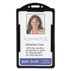 Advantus Vertical ID Card Holders, 2 1/8 x 3 3/8, Black, 25 per Pack
