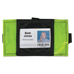 Advantus Reflective Arm Badge Holder, 3 1/2 x 3 1/2, Green/Black, 6 per Box