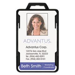 Advantus Secure-Two Card RFID Blocking Badge, 3 3/8 x 2 1/8, Black, 20 per Pack