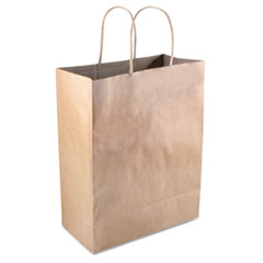 "COSCO Premium Shopping Bag, 8"" x 10.25"", Brown Kraft, 50/Box"