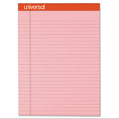 Universal® Fashion Colored Perforated Note Pads, 8 1/2 x 11 3/4, Legal, Pink, 50 Shts, 6/PK