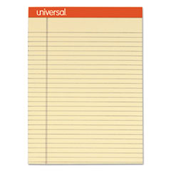 Universal® Fashion Colored Perforated Note Pads, 8 1/2 x 11 3/4, Legal, Ivory, 50 Sht, 6/PK