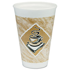 Dart® Café G Hot/Cold Cups, Foam, 16 oz, White/Brown with Green Accents, 25/Pack