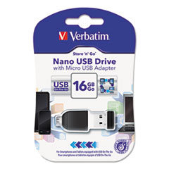 Verbatim® Store 'n' Stay Nano USB Flash Drive with USB OTG Micro Adapter Thumbnail