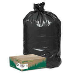 "Linear Low Density Large Trash and Yard Bags, 33 gal, 0.9 mil, 32.5"" x 40"", Black, 80/Carton"