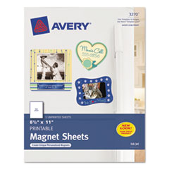 Avery® Printable Inkjet Magnet Sheets, 8 1/2 x 11, White, 5/Pack