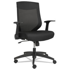 Alera EB-K Series Synchro Mid-Back Flip-Arm Mesh Chair, Black/Black Frame