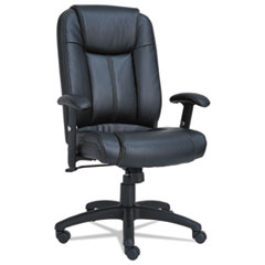 Alera® Alera CC Series Executive High-Back Swivel/Tilt Leather Chair, Supports up to 275 lbs., Black Seat/Black Back, Black Base