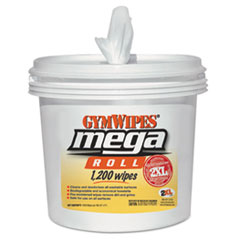 2XL Gym Wipes Mega Roll, 8 x 8, White, 1200 Wipes/Bucket, 2 Buckets/Carton