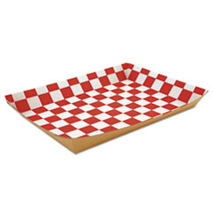"""SCT® Lunch Trays, Paperboard, Red/White Check, 10.5""""W x 7.5""""D x 1.5""""H, 250/Carton"""