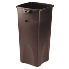 Rubbermaid® Commercial Untouchable Square Waste Receptacle, Plastic, 23 gal, Brown