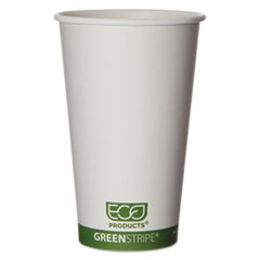 Eco-Products® GreenStripe Renewable & Compostable Hot Cups - 16 oz., 50/PK, 20 PK/CT