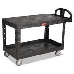 Rubbermaid® Commercial Heavy-Duty 2-Shelf Utility Cart, TPR Casters, 25.25w x 54d x 36h, Black
