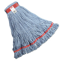 Rubbermaid® Commercial Web Foot Looped-End Wet Mop Head, Cotton/Synthetic, Large Size, Blue, 6/Carton
