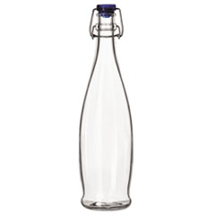 Libbey Glass Water Bottle with Wire Bail Lid, 33 7/8 oz, Clear Glass, 6/Carton