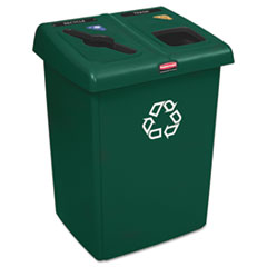 Rubbermaid® Commercial Glutton Recycling Station, Two-Stream, 46 gal, Green