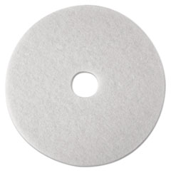 "3M™ Low-Speed Super Polishing Floor Pads 4100, 14"" Diameter, White, 5/Carton"
