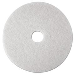 "3M™ Low-Speed Super Polishing Floor Pads 4100, 16"" Diameter, White, 5/Carton"