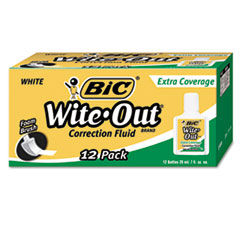 Wite-Out Extra Coverage Correction Fluid, 20 ml Bottle, White, 1/Dozen