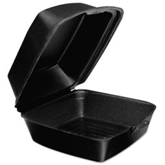 Dart® Foam Hinged Lid Containers, Large Sandwich, 6 x 5.9 x 3, Black, 125/Bag, 4 Bags/Carton