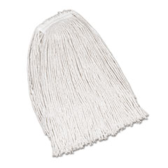Rubbermaid® Commercial Economy Cotton Mop Heads, Cut-End, Ctn, WH, 32 oz, 1-in. White Headband, 12/CT