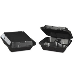 Genpak® Snap-It Foam Hinged Carryout Container, 3-Comp, Black, 8-1/4x8x3,100/BG, 2 BG/CT