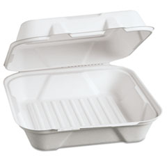 Genpak® Harvest Fiber Hinged Containers, 9 x 9 x 3, White, 100/Pack, 2 Packs/Carton