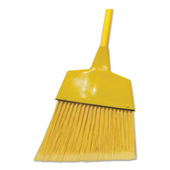 "Boardwalk® Poly Fiber Angled-Head Lobby Brooms, 55"", Yellow Lacquered Wood Handle, 12/Carton"