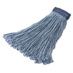 Rubbermaid® Commercial Non-Launderable Cotton/Synthetic Cut-End Wet Mop Heads, Cotton/Synthetic, 32 oz, Blue,12/Carton