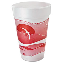 Dart® Horizon Foam Cup, Hot/Cold, 16oz., Printed, Cranberry/White, 25/Bag, 40/CT
