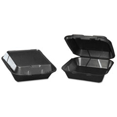 Genpak® Snap-It Foam Hinged Carryout Container, Medium, Black, 8-1/4x8x3, 100/Bag, 2/CT