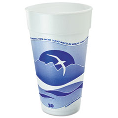 Dart® Horizon Foam Cup, Hot/Cold, 20oz., Printed, Blueberry/White, 25/Bag, 20/CT