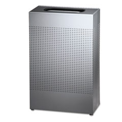 Rubbermaid® Commercial Designer Line Silhouettes Waste Receptacle, Steel, 13 gal Capacity, Silver Metallic
