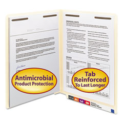 Smead® Manila Reinforced End Tab 2-Fastener Folders with Antimicrobial Product Protection, Straight Tab, Letter Size, 50/Box